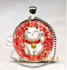 Vintage lucky cat Cabochon Tibetan silver Glass Chain Pendant Necklace #451