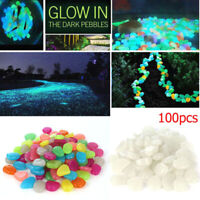 100pcs Resin Glowing Stone Pebbles Rock For Fish Tank Aquarium Garden Decoration