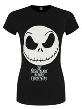 T-shirt Nightmare Before Christmas Jack Face & Logo Women's Black