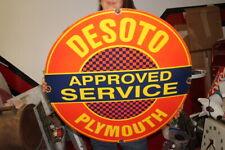"Large DeSoto Plymouth Approved Service Mopar Gas Oil 30"" Porcelain Metal Sign"