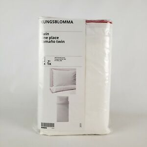 Ikea Kungsblomma Twin Duvet Cover & 1  Pillowcase White/Red - New