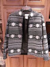 Vtg Silk Club Blazer Unique & Intricate Stitching & Design Black & White Size M