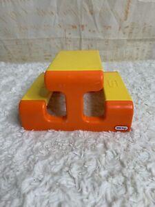 Little Tikes Picnic Table Dollhouse Size Yellow Orange Vintage Furniture