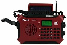 Kaito Ka700 Am Fm Noaa Weather Radio Recorder Bluetooth Dynamo & Solar - Red