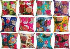 5 PC Cotton Silk Cushion Cover Sofa Pillow Cover Handmade Kantha Cushion Throw