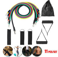 11PCS Resistance Bands Set Pull Rope Gym Home Fitness Workout Pilates Yoga Tube