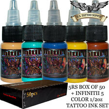 5 Round Shader Tattoo Needles + Infinitii Tattoo Ink 5 Color 1/2oz Ink Set