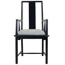 Hollywood Regency Italian Black Lacquer Armchair