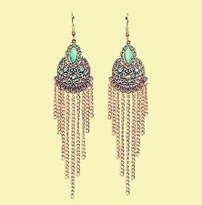 Women Retro Boho blue turquoise Long Tassel Chain party Earrings Ear Hook Drop