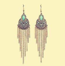 Women Retro Boho Blue Turquoise Long Tassel Chain Party Earrings Ear Hook Drop