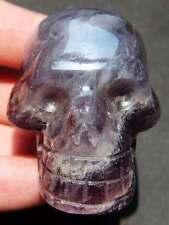 2.8OZ FLUORITE Crystal Healing Carving SKULL