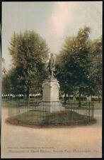 PHOENIXVILLE PA David Reeves Monument Antique Postcard Early Vtg Park View PC
