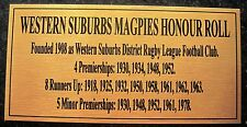 NRL Western Suburbs Magpies Honour Roll Gold Plaque free post