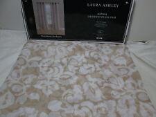 Laura Ashley SOPHIA Semi-Sheer Grommet Window Panels 2-40x84 ~ Beige/White NEW