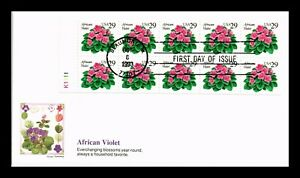 DR JIM STAMPS US COVER AFRICAN VIOLET FLOWERS BOOKLET FDC FLEETWOOD CACHET