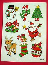 VINTAGE 1984 PAPER ART CHRISTMAS 13 STICKERS 1 SHEET SANTA SNOWMAN DEER MOUSE