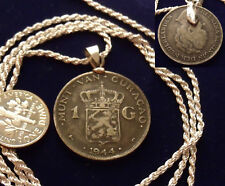 1944 Dutch Royal Lion Silver Coin Pendant & 26 Italian .925 Silver Rope Chain