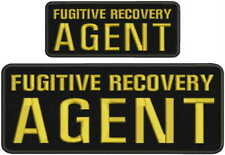 Fugitive Recovery Agent embroidery patches 4x10 and 2.5x6 hook letters:Gold