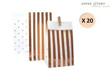 Rose Gold Stripes & Dots Treat Bags 20 Pack Party Supplies FAST 'N FREE DELIVERY