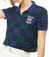 Yale University Checkered Plaid Polo Short Sleeve Shirt Embroidered Logo M NEW