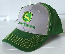 John Deere All Fabric Gray & Green Hat Cap w Vintage Logo & Yellow Stitching