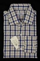 BELVEST by Finamore Napoli Shirt Cotton Checks White Blue Green 15 3/4 - 40 Reg