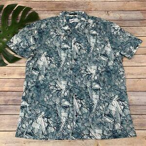 Tavik Mens Shoto Button Up Shirt Size XL Teal Green Linen Blend Short Sleeve