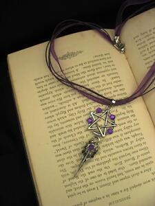 Gothic Pentacle Necklace Choker Purple Bird Skull Raven Pendant Wicca Magic