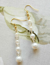 Faux Glasss Pearls Bicone Beads Powder Blue and White Pierced Earrings Weddings