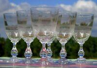 Baccarat - Service de 6 verres à vin blanc en cristal gravé XIXe s.