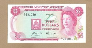 BERMUDA: 5 Dollars Banknote,(UNC),P-29a, 01.04.1978,No Reserve!