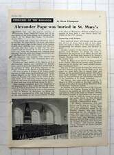 1962 Alexander Pope Was Buried In St Mary The Virgin Twickenham