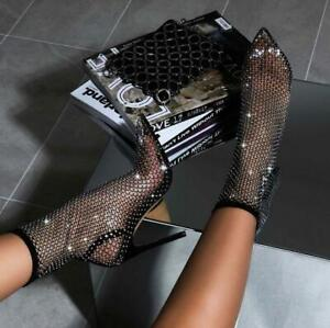 New Women Mesh Fishing net Sock Boots Pointed Toe Ankle Thin High Heel shoes