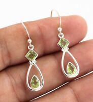Peridot Gemstone Handmade Drop Daily Wear Gift Earring Solid 925 Sterling Silver