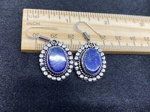 Very Pretty Sterling Silver & Lapis Lazuli Earrings- Estate Find- 8.4 Grams