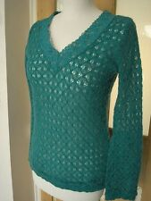 Drea Myminx Green Turquise lacy knit see through knit jumper top S