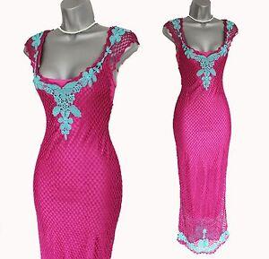 Karen Millen UK 10 Pink Precious Vintage Crochet Floral Wiggle Bodycon Dress  2