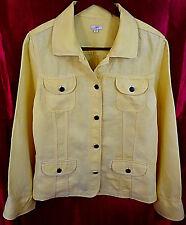 J JILL EUC Long Sleeve Metal Button 4 Pocket Shirt Blazer Jacket Yellow Large  L