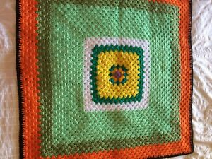 Crochet small lap rug craft Nanna Square chair cot baby vintage retro wool