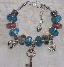 Euro Style Murano Lady Bug Beads Blue Facets & Key & Hearts Handbeaded Bracelet
