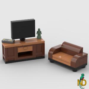 Lego Television / TV Stand & Couch Sofa - Minifigure Custom Interior Furniture