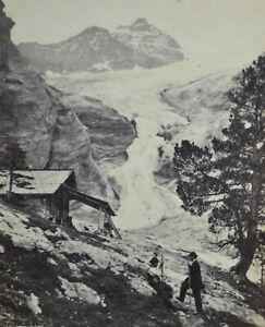 1860/70s CDV Switzerland Carte De Visite Photo Glacier Rosenlaui Suisse A Braun