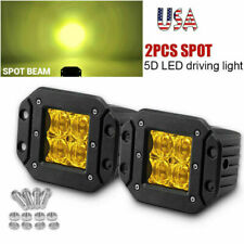 "5"" 24W Flush Mount LED Pods Yellow Spot Work Light Bar Offroad Backup Pickup 4WD"
