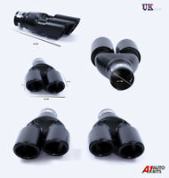 2X SPORT DUAL TWIN EXHAUST MUFFLER PIPES TAIL TIP BLACK AUDI A4 A6 Q7 Q5 S-Line