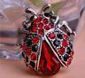 Ladybug Brooch Rhinestone Pin Womens Crystal Animal Jewelry Gift Gemstone Silver
