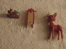 "Lot of 3 Christmas Ornaments Reindeer 6"" Tall Sled3.5"" Long Wood Sled Santa 2"""