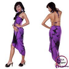 1 World Sarongs Womens Big Hibiscus Floral Sarong Purple/Black CoverUp Wrap