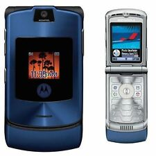 Motorola RAZR V3 Unlocked flip Mobile Phone New Boxed Blue