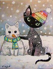 Devon Rex Cat art snow painting on canvas original hand painted Suzanne Le Good