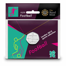 2012 50p OLYMPIC 12/29 FOOTBALL COIN HANGING BAG BRILLIANTLY UNCIRCULATED @